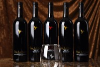Line up of 5 wines with an etched glass