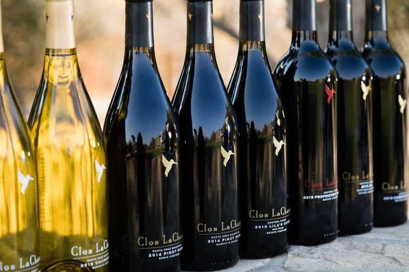 Line up of Clos LaChance Bottles