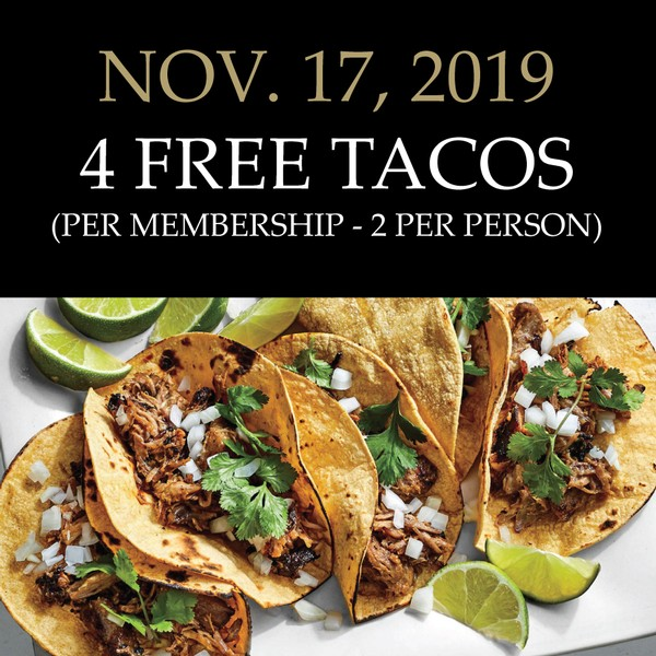 Sunday, 4/5:  Member Taco Party (includes 4 tacos per membership)
