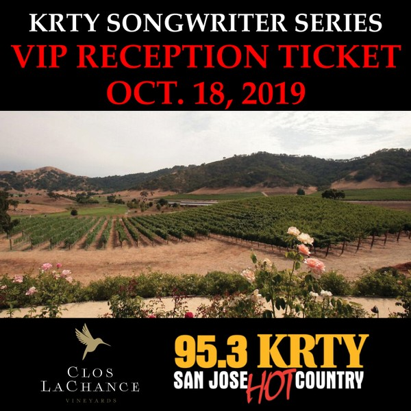 VIP Songwriter's Reception Access:  10/18/19 (must have a concert ticket already purchased to be eligible)